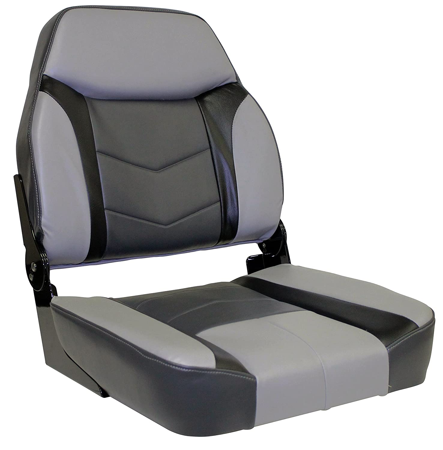 Wise 3300 Commander Premium High-Back Boat Seat Cuddy Marble//Cuddy Round Midnite//Cuddy Charcoal The Wise Company 3300-840