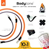 BodyBand ToneX Latex Resistance Toning Tube Bands (Light, Heavy) with Chest Expander, Door Anchor, Handles and Ankle Straps -10 PC Set