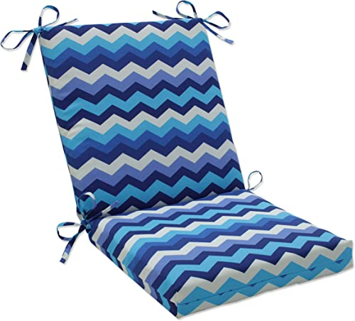 Pillow Perfect Outdoor/Indoor Panama Wave Azure Square Corner Chair Cushion