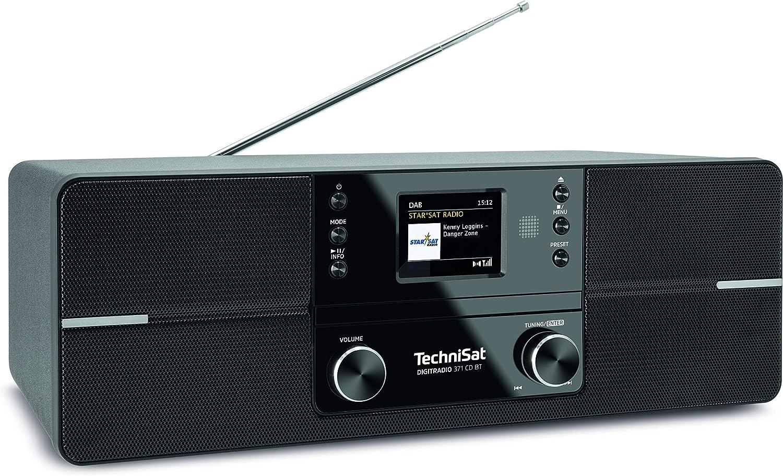 Technisat Digitradio 371 Cd Bt Stereo Digitalradio Dab Ukw Cd Player Bluetooth Farbdisplay Usb Aux Kopfhöreranschluss Kompaktanlage Wecker 10 Watt Fernbedienung Schwarz Heimkino Tv Video