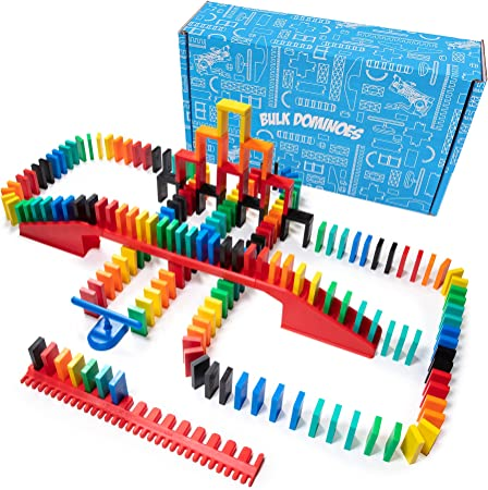 Bulk Dominoes 206pcs Pro-Domino Kit   Dominoes Set, STEM STEAM Small Toys, Family Games for Kids, Kids Toys and Games, Building, Toppling, Chain Reaction Sets