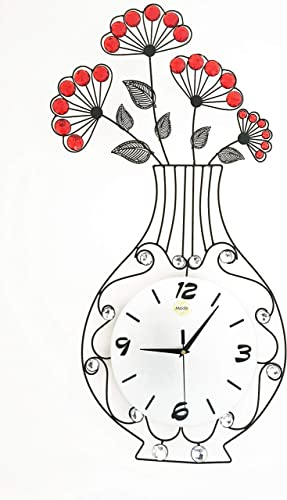 Meida Metal Crystal Flower Vase Wall Clock vase