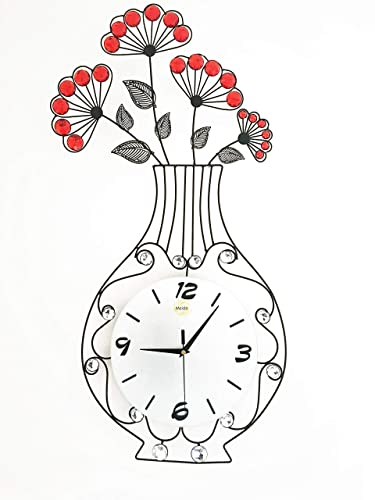 Meida Metal Crystal Flower Vase Wall Clock vase