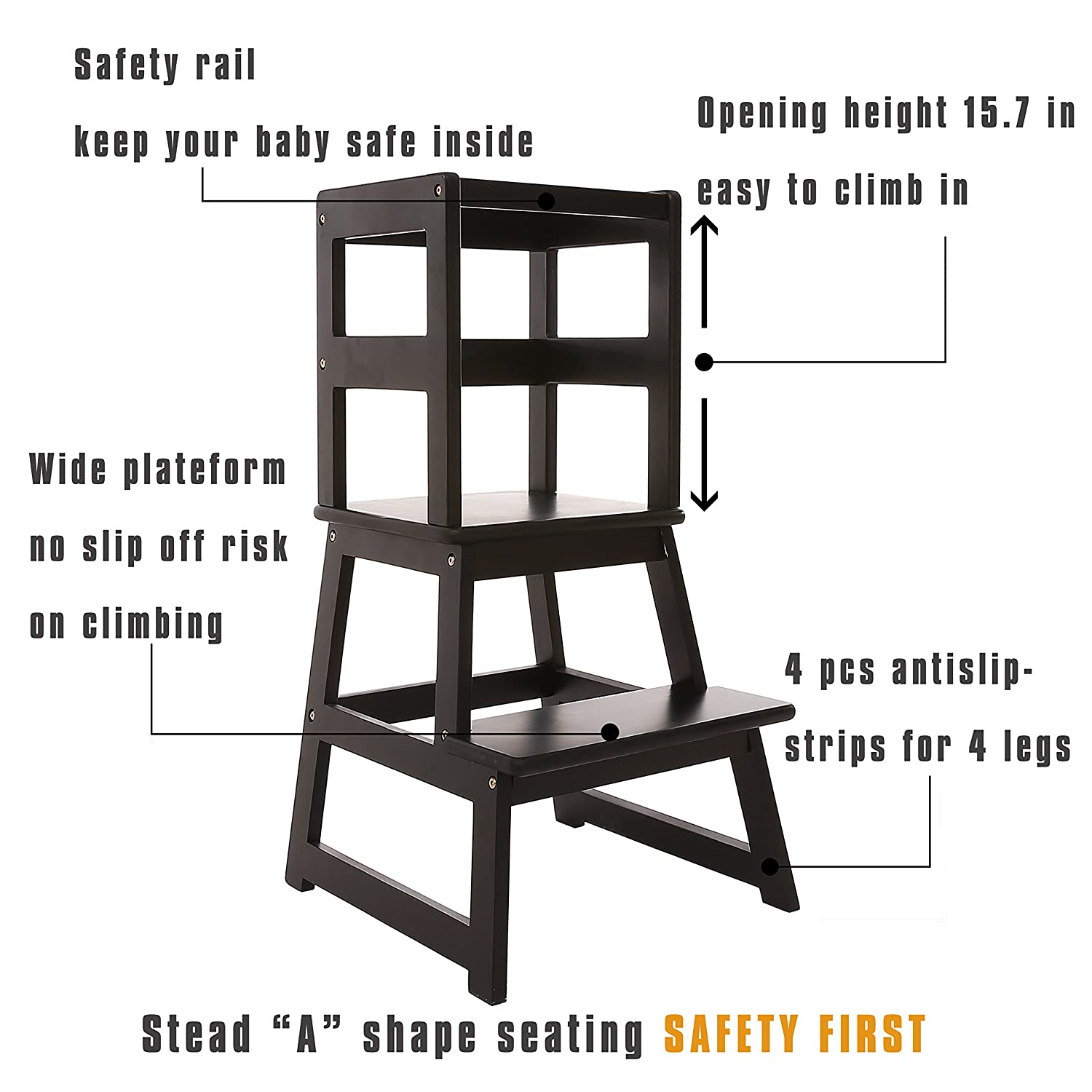 Outstanding Sdadi Kids Kitchen Step Stool With Safety Rail For Toddlers 18 Months And Older Black Lt01B Creativecarmelina Interior Chair Design Creativecarmelinacom