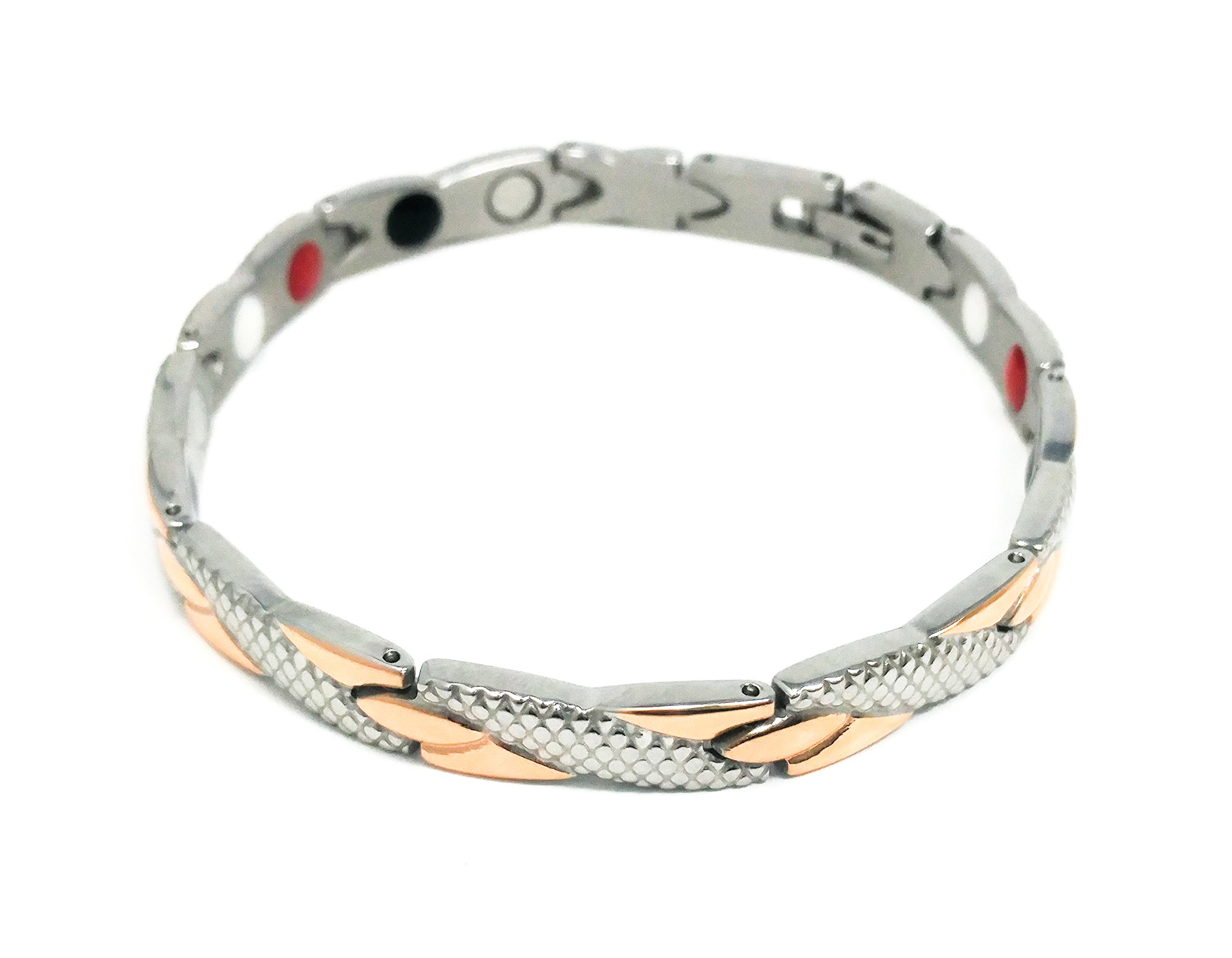Silver and Rose Gold Women's Magnetic Therapy Bracelet | Improve Circulation, Manage Pain & Stress, Feel Better Naturally