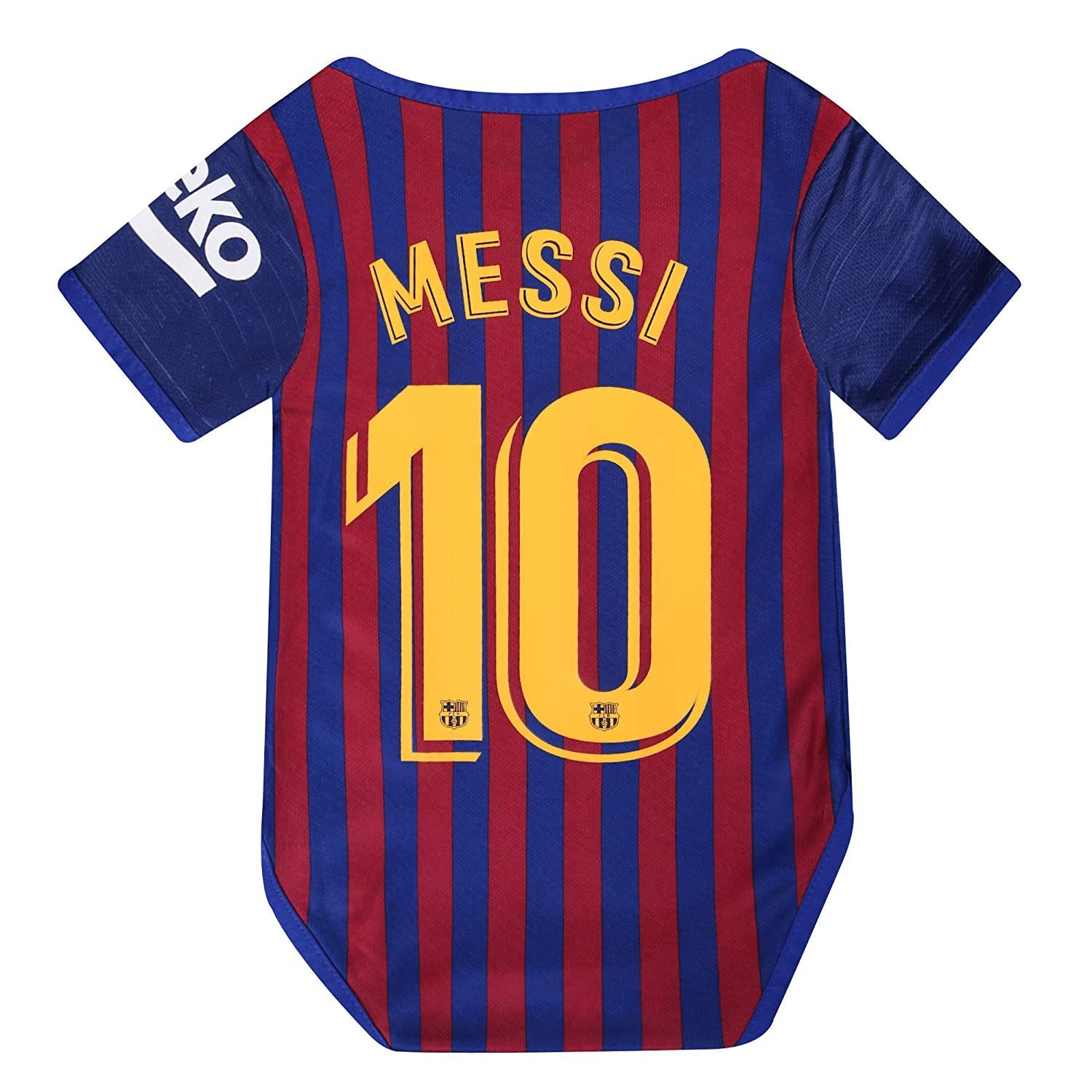 best website 56665 344cd Barcelona Home #10 Messi Baby Cotton Soccer Bodysuits Infant OneSize Red