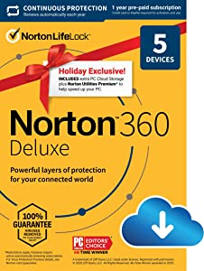 Norton 360 Deluxe 2021 – Antivirus software for 5 Devices with Auto Renewal - Holiday Exclusive - Includes 75GB PC Cloud Backup, VPN & Dark Web Monitoring powered by LifeLock [Download]