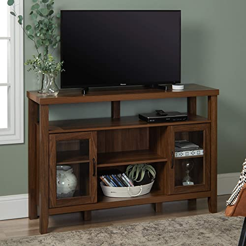Walker Edison Tall Wood Universal Stand with Open TV s up to 58 Flat Screen Living Room Storage Entertainment Center, 52 Inch, Walnut Brown