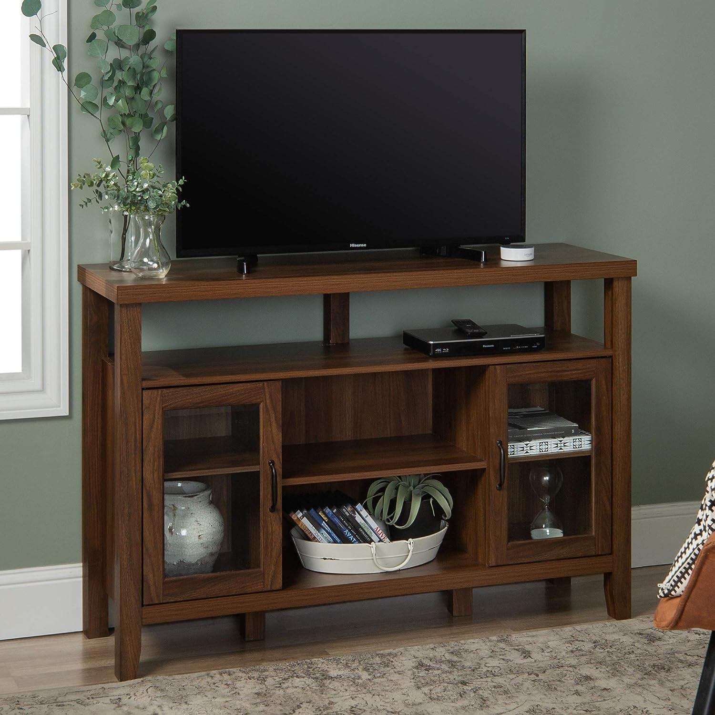WE Furniture Tall Wood Buffet, Dark Walnut