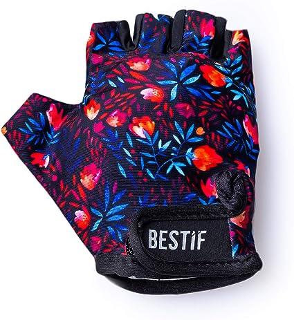 Gepolstert BESTIF Fahrradhandschuhe Damen Feathers, M//L Halbfinger Radsporthandschuhe Sommer Fingerlose Fitness Handschuhe mit Klettverschluss