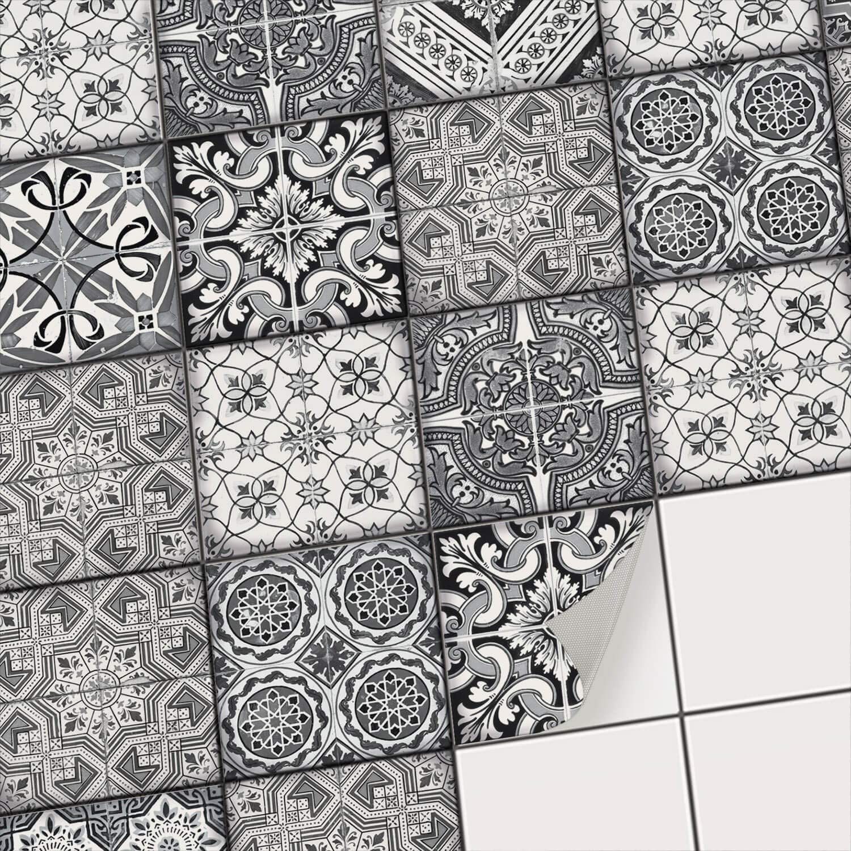 Dekorative Klebefolie für Fliesen I Aufkleber für Fliesenspiegel Küche I  Bad-Fliesen überkleben - Mosaikfliesen selbstklebend für Wandfliesen I  19x19