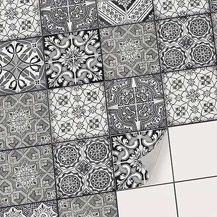 Dekorative Klebefolie für Fliesen I Aufkleber für Fliesenspiegel Küche I  Bad-Fliesen überkleben - Mosaikfliesen selbstklebend für Wandfliesen I ...