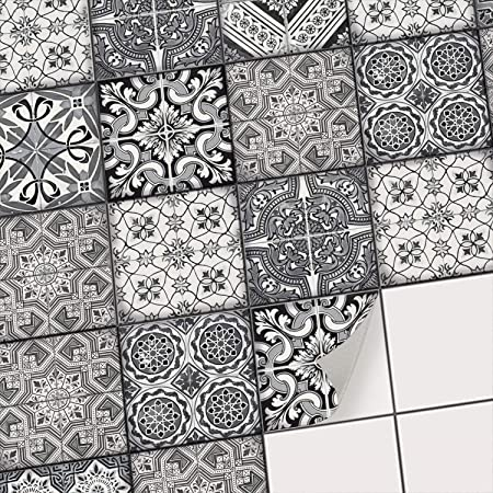 Dekorative Klebefolie für Fliesen I Aufkleber für Fliesenspiegel Küche I  Bad-Fliesen überkleben - Mosaikfliesen selbstklebend für Wandfliesen I  15x15 ...