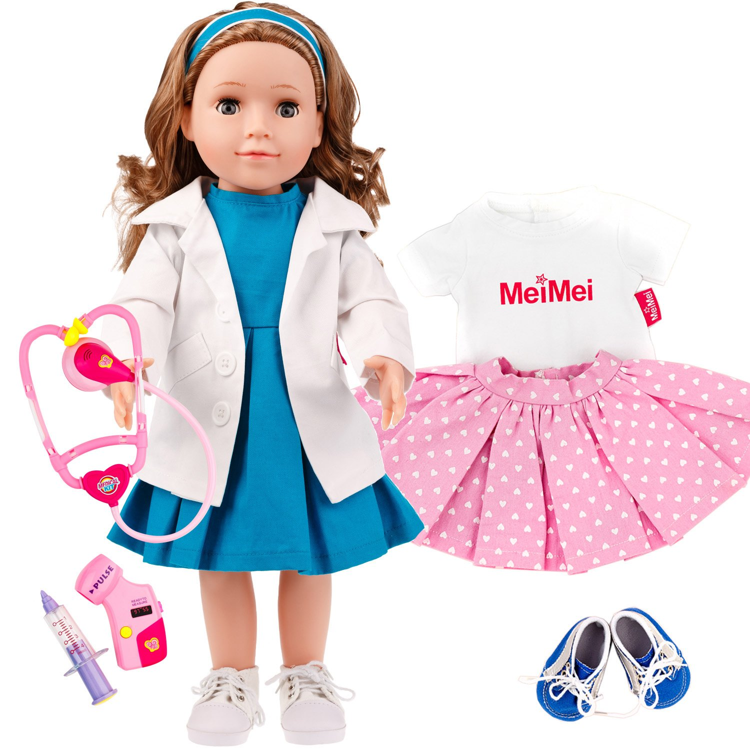 MeiMei 18 inch Doll Girl Doctor Nurse Playset Toy with Clothes Set Outfit Eyes Can Open & Close Toddler Dolls for Kids 3+ Adorable in Gift Box