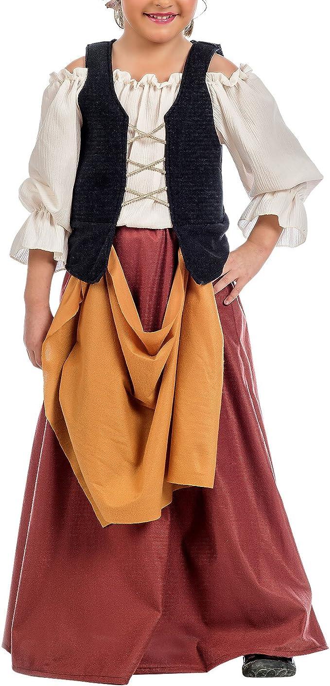 Traje Medieval Campesino niña de 2 PC. Blusa Falda con corpiño - 7 ...