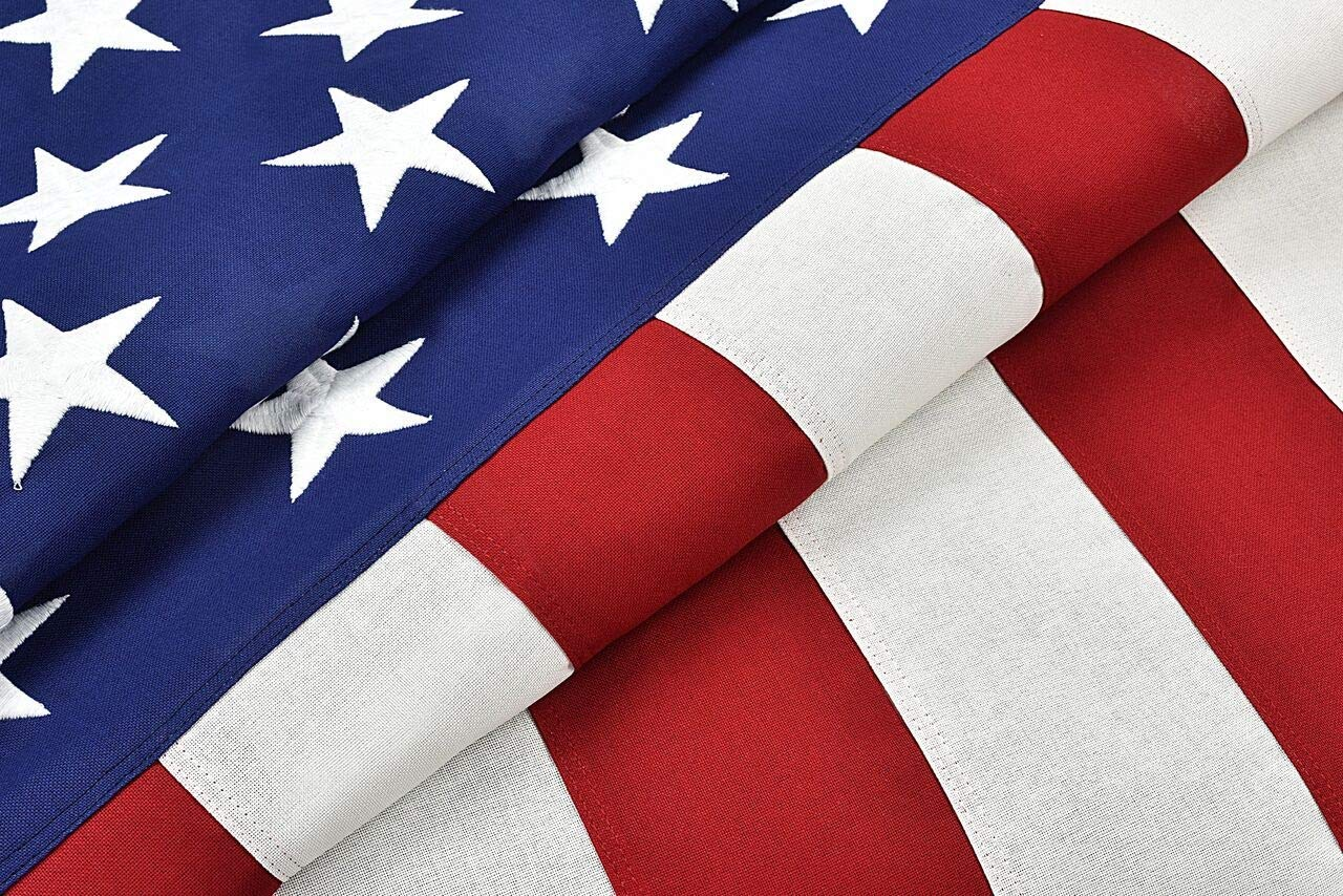 Tillery Innovations Made in The USA Cotton Burial Casket Flag, 5' x 9.5' with Fully Embroidered Stars and Sewn Stripes for US Veterans, Internment, F.lag Ceremony, Memorial Day