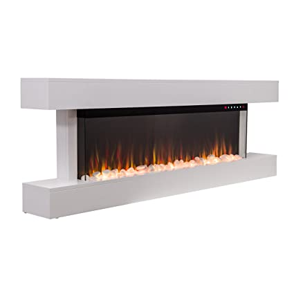 Incredible 2019 New Premium Product 60Inch White Wall Mounted Electric Fire Suite With 10 Colour Flames And Mantel Pebbles Logs And Crystals Interior Design Ideas Tzicisoteloinfo