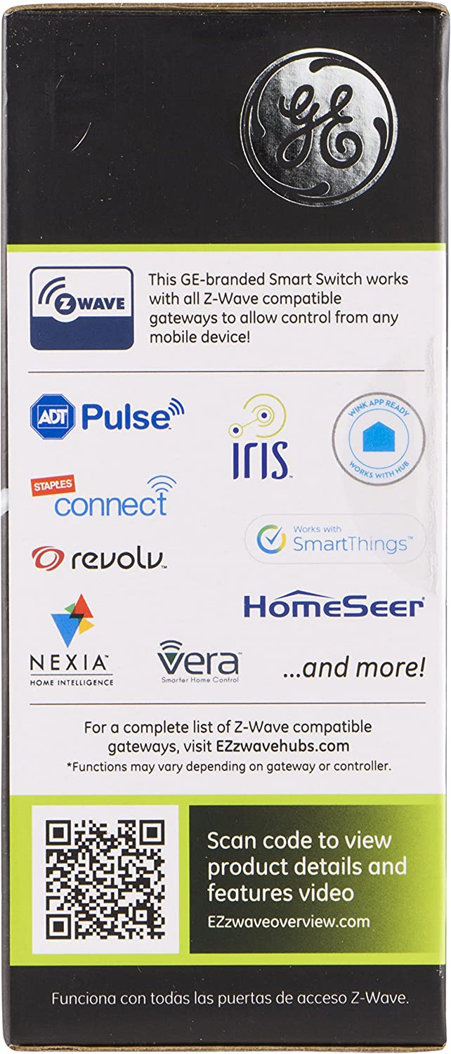 GE Z-Wave Plus On/Off Plug-In Smart Switch, 1 Grounded Outlet, Control Lighting & Appliances, Built-in Repeater & Range Extender, Zwave Hub Required- Works with SmartThings Wink and Alexa, 28169 Jasco