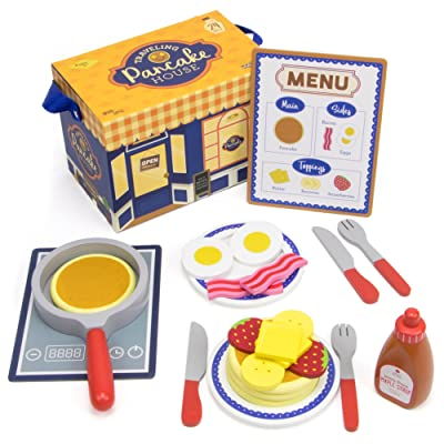 Imagination Generation Wood Eats! Traveling Pancake House Playset with 4 Pancakes, 2 Bacon Strips, 2 Eggs, Menu, and Assorted Breakfast Toppings & Cookware (24 pcs): Toys & Games