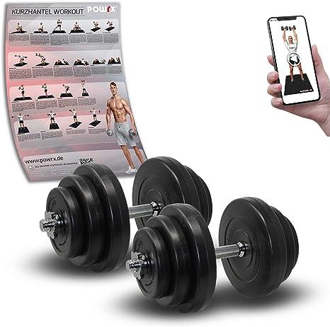 POWRX - Mancuernas 40 kg set (2 x 20 kg) + PDF workout (Negro ...