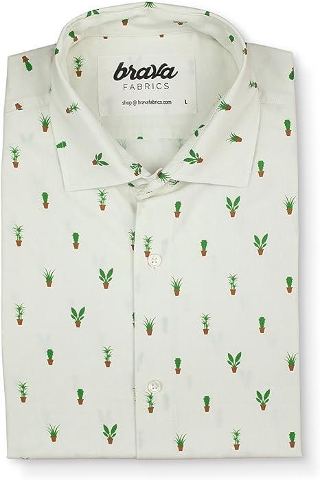 Brava Fabrics   Camisa Hombre Manga Corta Estampada   Camisa Blanca para Hombre   Camisa Casual Regular Fit   100% Algodón   Modelo Apartment Plants   Talla 3XL: Amazon.es: Ropa y accesorios
