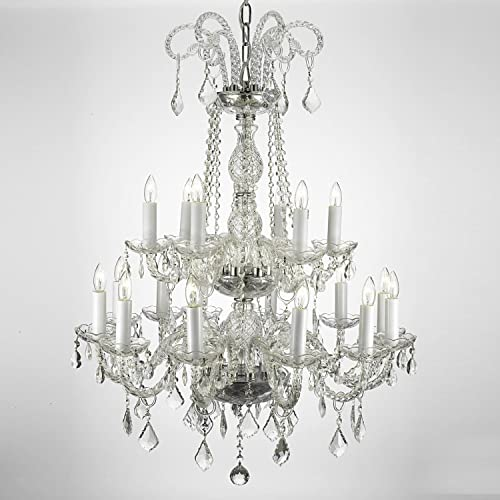 Authentic All Crystal Chandelier Lighting , 38hx28w , 18lts