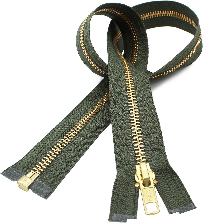 30 inch Olive Army Green /& Brass #10 YKK Heavy Duty Separating  Zipper