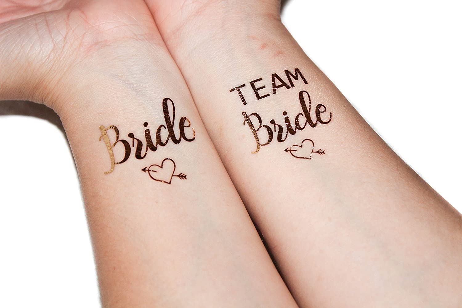 (12 pack) Bride and Team Bride Temporary Tattoos by Brides To Be -Metallic Shiny Gold Tattoos - Bachelorette Party Supplies and Accessories Favors