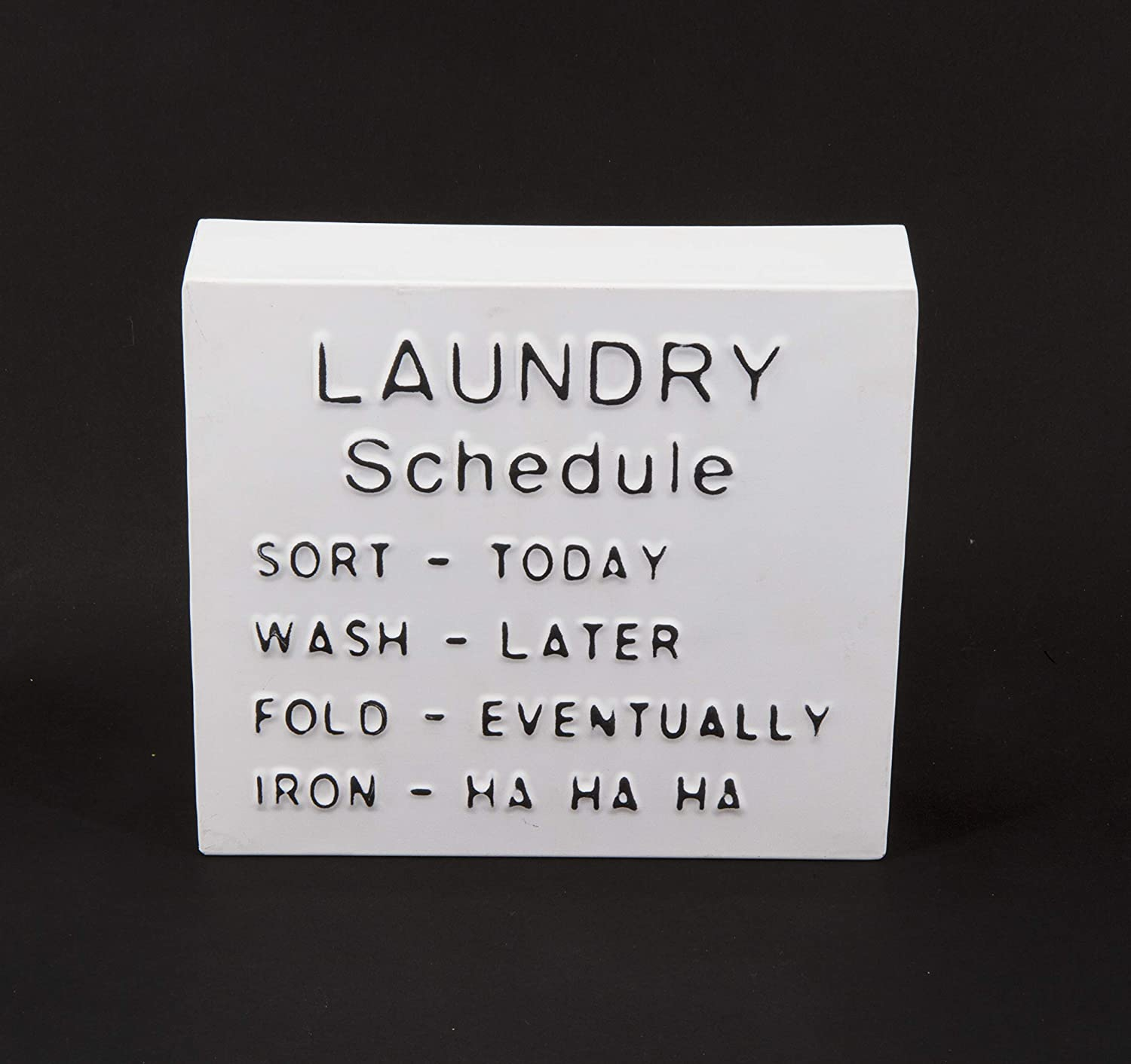 Showtime Sales Laundry Schedule Block Decoration Sign, Distressed White Home Decor Sign, Free Standing Decoration, Dimensional Art, Text, Wording, Graphics Wall Decor, Wall Art, Fully Assembled