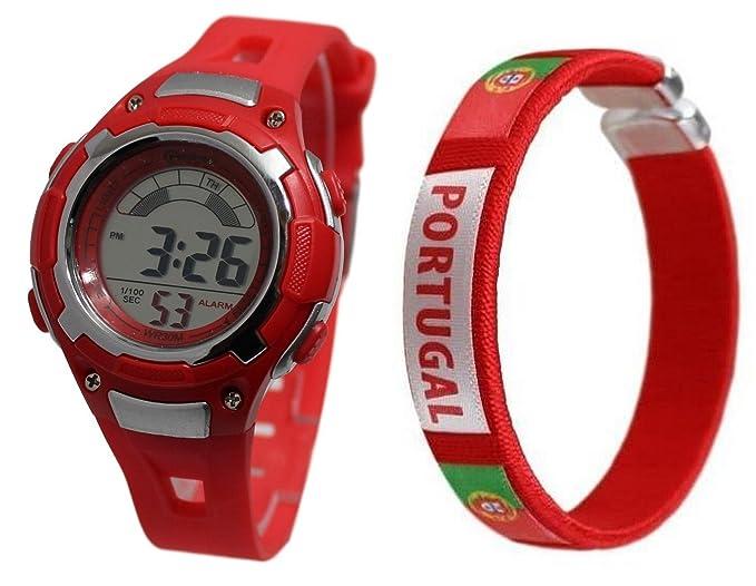 Pack de reloj infantil digital y pulsera de la selección de portugal de Christiano Ronaldo: Amazon.es: Relojes