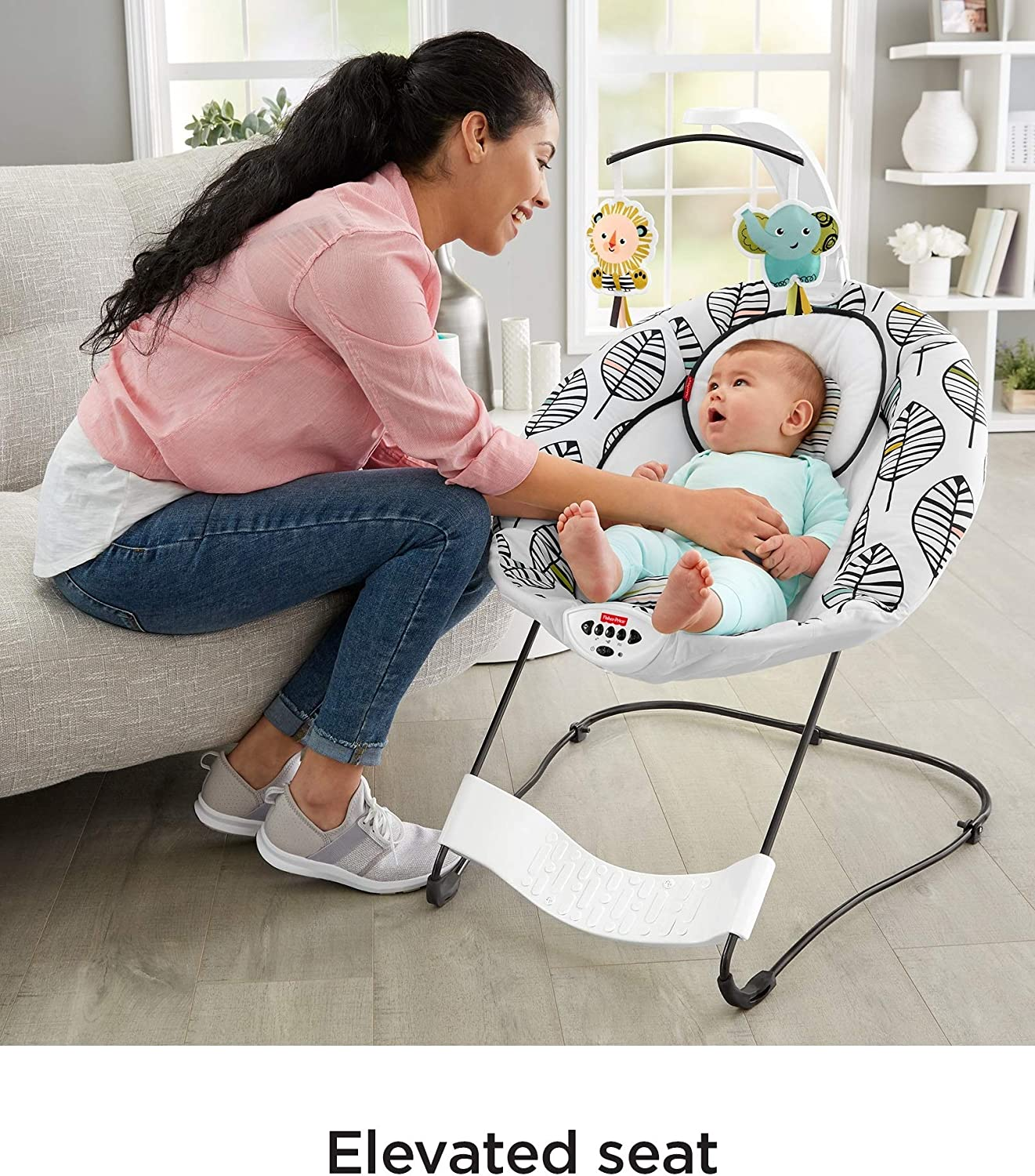 Fisher-Price See /& Soothe Deluxe Bouncer This Adorable Baby Bouncer/Features A Convenient Hands-Free Bounce Pedal So You Can Help Your/Baby Bounce and Soothe All Playtime Long!