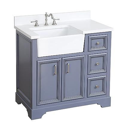 Bathroom Vanities.Zelda 36 Inch Bathroom Vanity Quartz Powder Gray Includes A