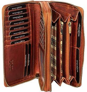 MATADOR ECHT Leder RFID Langbörse Geldbörse Geldbeutel Damen Portemonnaie Braun