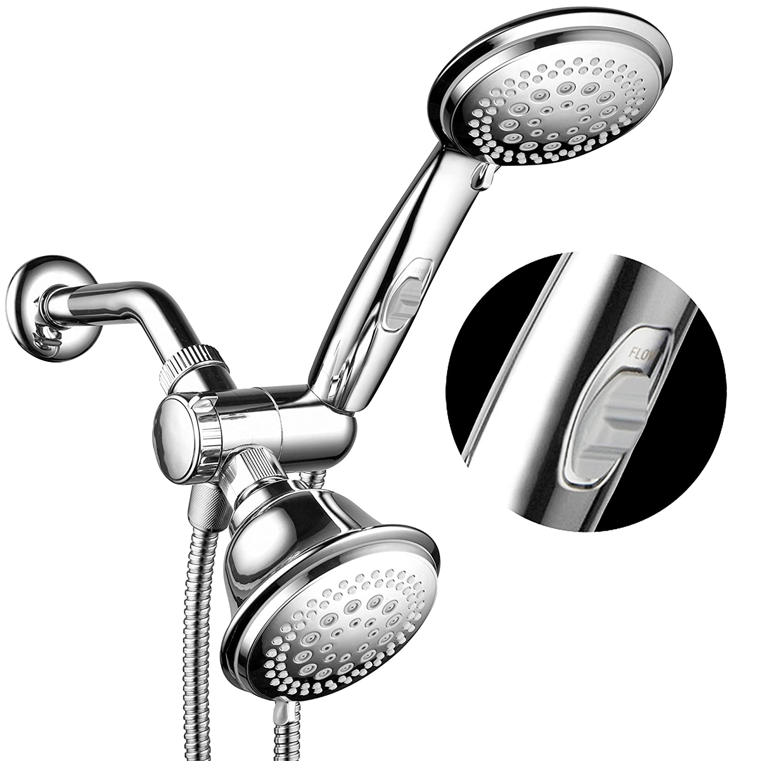 HotelSpa FBA_1465 Ultra Luxury 42 Setting Head/Handheld Shower Combo with Patented ON/Off Pause Switch and 5-7 Foot Stretchable Stainless Steel Hose/Premium Chrome