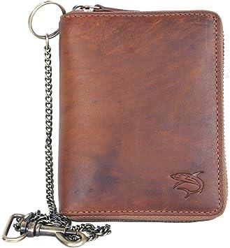 Metal Zip-around Cuir Véritable Portefeuille avec chaîne en métal