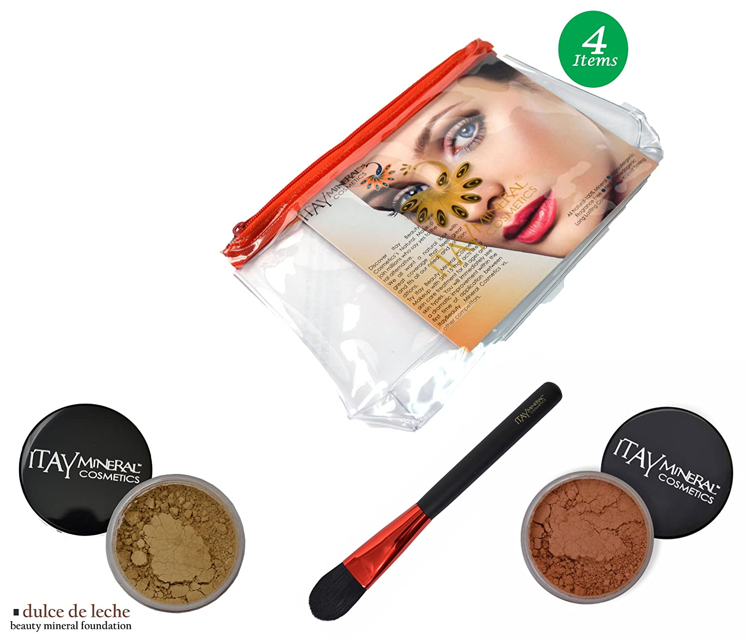 Amazon.com : (Bundle of 4 Items)Itay Mineral Cosmetics Full Size Flawless Foundation MF5 Dulce de Leche+Blush+Foundation Brush+Airplane Travel Cosmetic Bag ...