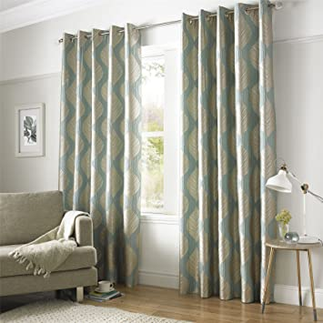 Homescapes Duck Egg Blue and Champagne Gold Textured Leaf Curtain ...