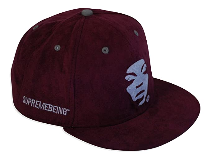 9b8c3db67ee Supreme Being Snap Back Cap Burgundy Suede Look With Adjustable Strap One  Size  Amazon.co.uk  Clothing