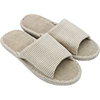 APIKA Women's and Men's Cotton Flax Casual Soft Light Open Toe Slippers Comfortable and Breathable House Slippers Anti…
