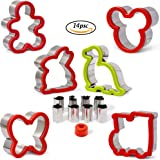 Kayaso Sandwich Cutter, Bread Cutter Shapes For Kids Include Mini Veggie Cutter, Stainless Steel, Set of 14 pc (cookie cutter set)