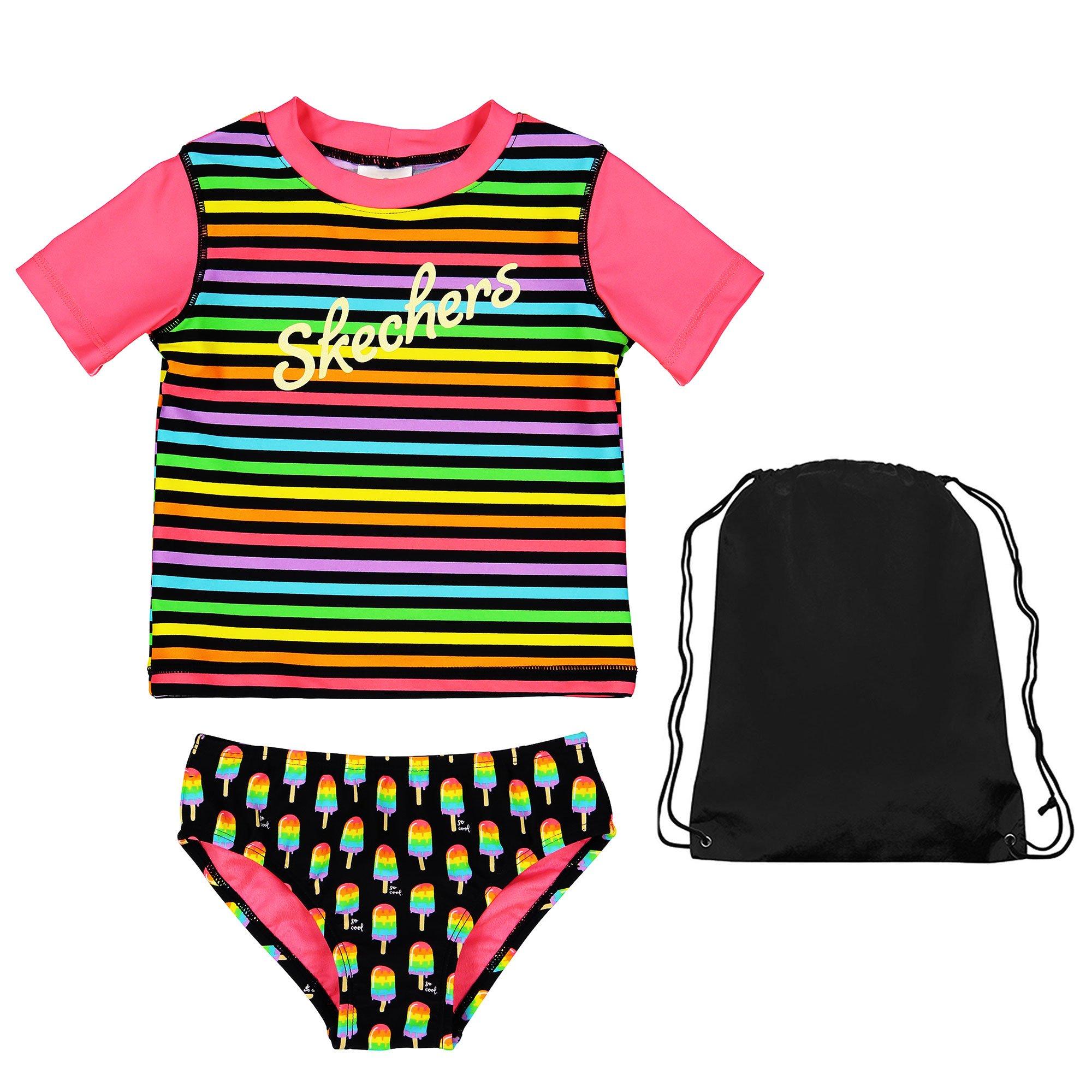 Skechers 2 Piece Swimsuit Striped Short Sleeve Rash Guard Popsicle Bikini Bottoms and Bag 4