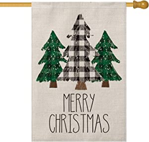 AVOIN Buffalo Plaid Christmas Tree House Flag Vertical Double Sized, Winter Holiday Yard Outdoor Decoration 28 x 40 Inch