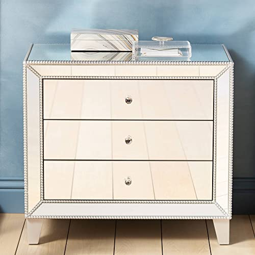 Liza 30 Wide Mirrored 3-Drawer Accent Table – Studio 55D