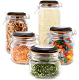 EatNeat Set of 5 Airtight Glass Canisters with Bail & Trigger Clamp Lids- 68/ 51/ 34/ 27/ 17 oz.