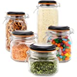 EatNeat Set of 5 Clear Glass Kitchen Canisters and Canning Jars with Airtight Bail & Trigger Hermetic Seal Black Lids