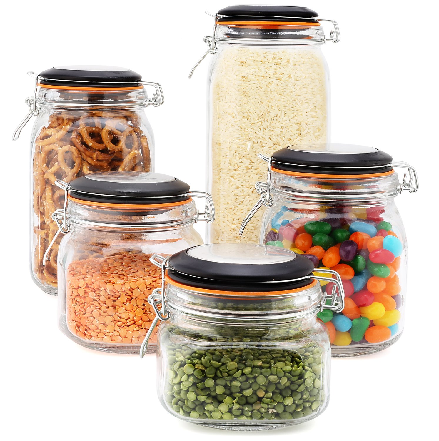 EatNeat Set of 5 Airtight Glass Food Storage Canisters with Bail & Trigger Clamp Lids: 68/51/ 34/27/ 17 oz. (Black Lid)