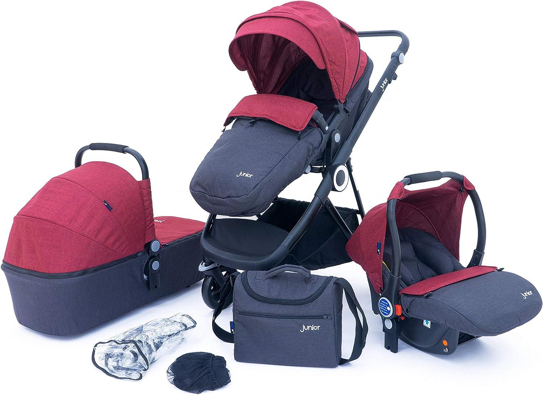 Petex 44470012 - Cochecito de bebé multifunción 3 en 1, juego completo de 10 piezas con 3 accesorios y accesorios, color rojo
