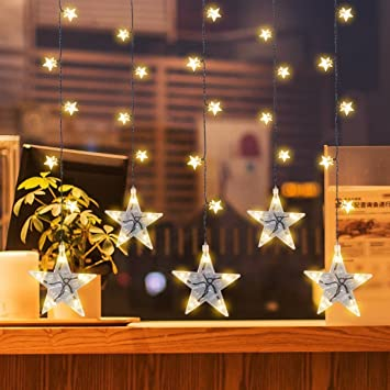 yuegang star curtain lights indoor lights twinkle curtain night light for christmashalloweenwedding