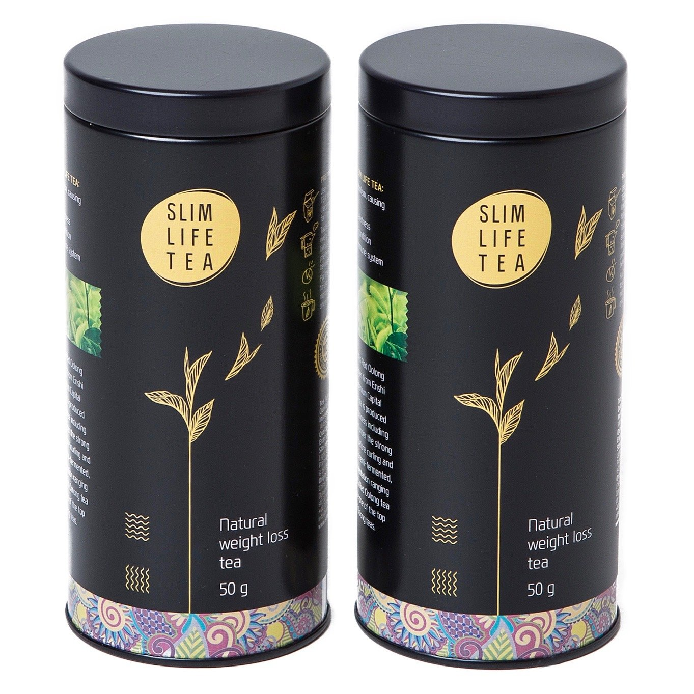 Slim Life Tea 1 Month Package (Includes 2 Tins of Tea). Burns Fat, Non-Laxative, Tasty