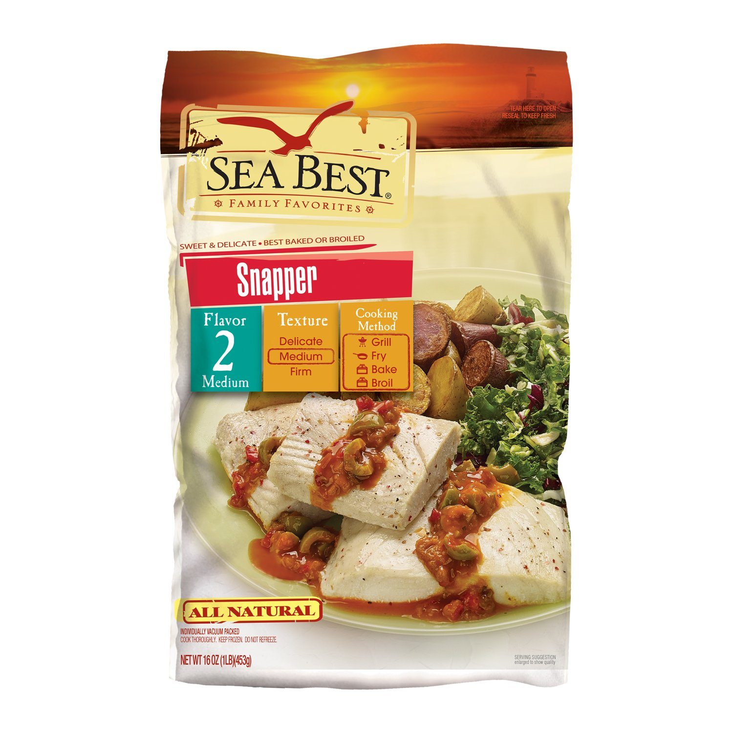 Sea Best All Natural Snapper Fillets, 16 Ounce